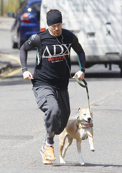 Celebrities working out with their dogs Channing Tatum